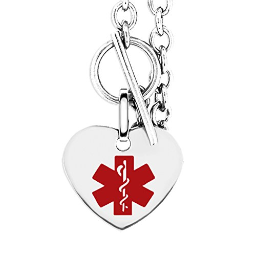 MedicEngraved Womans Heart Shape Stainless Steel Medical ID Toggle Bracelet - Customized Medical Engraving Included - 7.5in (Heart Id Medical Toggle Bracelet)