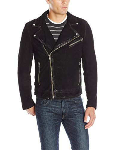 LAMARQUE Men's Rudd Lamb Rugged Suede Biker Jacket, Black, Small