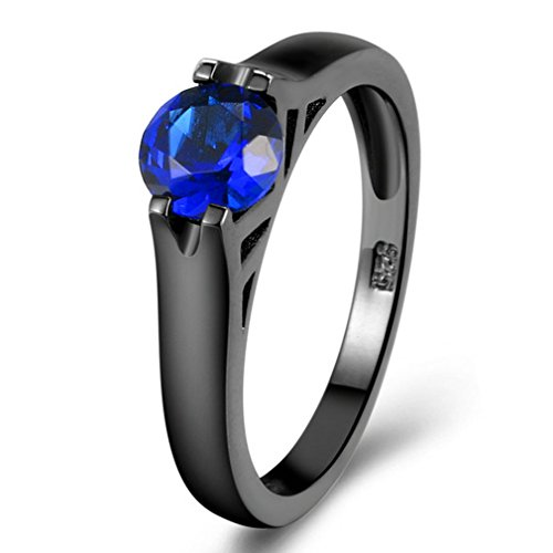 FENDINA Women 18K Black Gold Plated Wedding Anniversary Ring Created Blue Sapphire CZ Round Cut Promise Rings for - Glasses Kardashian Khloe