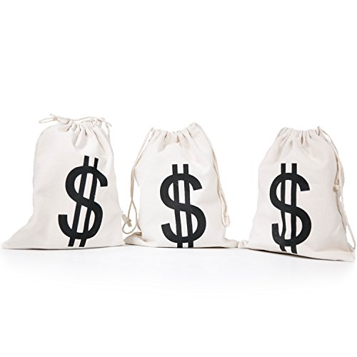 PAUBOLI Dollar Sign $ Money Bag 8 x 10 Inches (3pcs/Pkg) Canvas Drawstring Bag Bank Robber Bag Bag