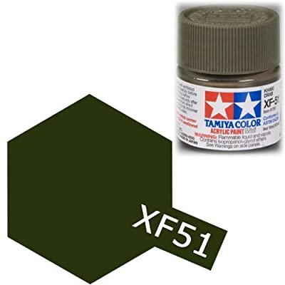 Tamiya Flat Acrylic Paint Mini 10ml Khaki Drab XF51: Toys & Games