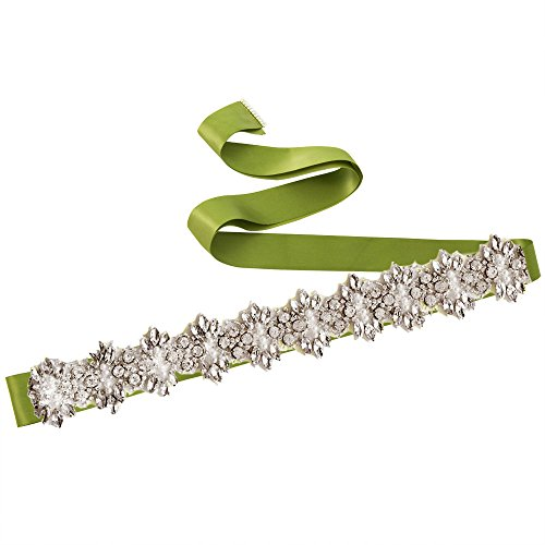 Belts Azaleas Diamond Green Wedding Sashes Wedding Bridal Belt Sash for Women's Dress 1HAOZ