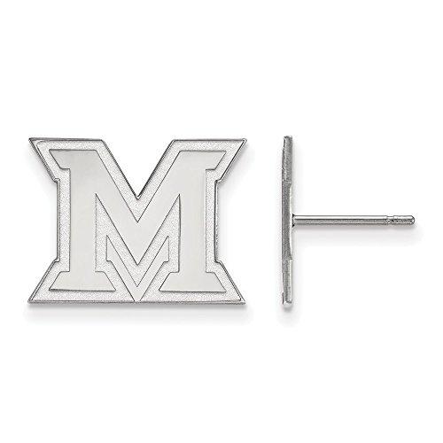 10k White Gold LogoArt Official Licensed Collegiate Miami University (MU) Small Post Earrings by LogoArt