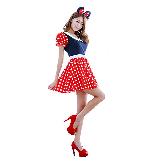 LVLUOYE Halloween Uniform, Red Polka Dot Minnie Mickey Plays Costume, Halloween Party]()