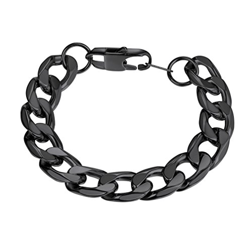 PROSTEEL Black Chain Bracelets Stainless Steel Stacking Layering Curb Chain Cuban Link Bracelet Men Women Punk Rock Fashion Jewelry Gifts ()