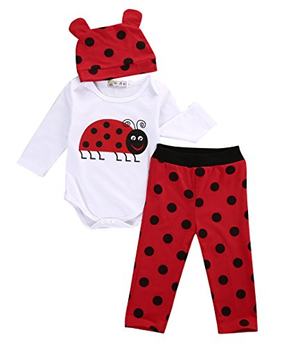 3PCS Infant Newborn Baby Boys Girls Animal Print Long Sleeve Romper Bodysuit Tops + Long Pants and Hat Outfits Set (80CM(0-6 Months), Red(Ladybug)) -