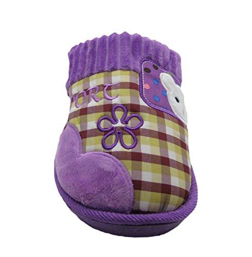 Fashion Blue Womens Adorable Cheery Bear House Platform Scuffs Slippers w/Plaid Polka Dot Pattern Lt.purple AleuOC