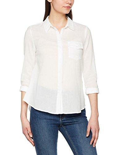 VERO MODA - Vmbasa L/s Midi Shirt Dnm A - Blouse - coupe droite - Manches Longues - Femme - Multicolore (Snow White Stripes:BALLEINE BLUE) - 40 (Taille fabricant: Large)