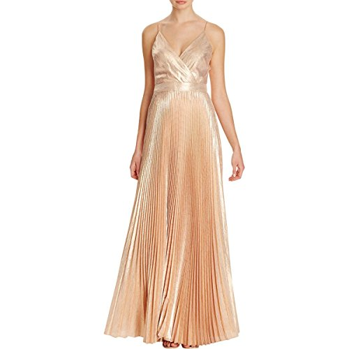 Silk Pleated Dress (Nicole Miller Womens Silk Metallic Evening Dress Gold 2)