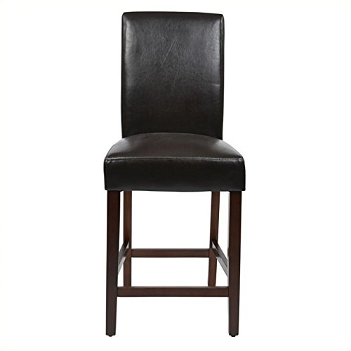 Metro Counter Stools (Office Star Metro Faux Leather Parsons Counter Stool with Chesnut Finish Legs, 24-Inch, Espresso, 2 Pack)