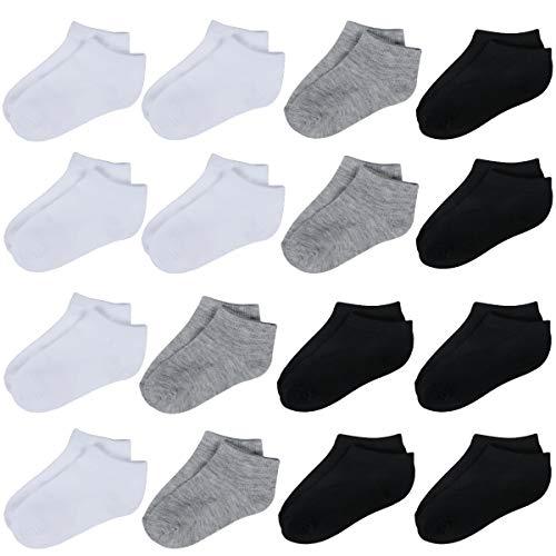 Toddler Socks-16 Packs Kids Low Cut Ankle Socks Baby Boys Girls Breathable Socks(3 Colors,4/6T)