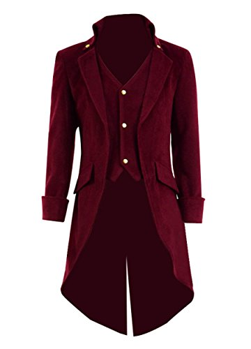 (Very Last Shop Mens Gothic Tailcoat Jacket Black Steampunk Victorian Long Coat Halloween Costume (US Men-M,)