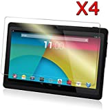 Transwon 4-Pack Ultra-Clear HD Screen Protector for 7 Inch Android Tablet inclu. Dragon Touch Y88X Plus, Y88 Q88, Alldaymall A88X A88S 7, NeuTab N7 Pro 7, DanCoTek 7, Rearway 7, Tagital T7X 7, Yuntab 7 Q88 Allwinner A23, KingPad K70 7, ProntoTec Axius Series Q9S 7, DeerBrook 7 A23, Chromo inc 7 Inch Tablet, Condroid X7, Condroid 7 GMS, (More suitable models please check the Product Description) - High Definition Invisible Protective Screen Film with Cleaning Cloth