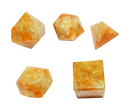 WholesaleGemShop Wow A++ Sunstone Crystal 5 Stones Sacred Geometry Sets Gemstone Platonic Solid Top Grade Quality