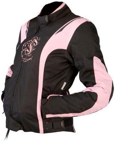 Rosa, XS JET Chaqueta Moto Mujer Textil Impermeable con Armadura ES 34-36