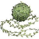 Olive Green Leaves Leaf Trim Ribbon -20 Yards - for DIY Craft Party Wedding Home Decoration (Olive Green)