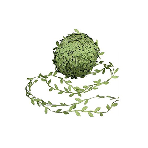 20 Yards Olive Green Leaves Leaf Trim Ribbon for DIY Craft Decoration (Olive Green)