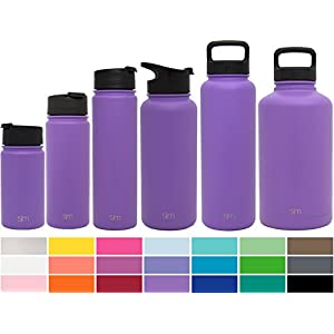 Simple Modern 22oz Summit Water Bottle + Extra Lid - Vacuum Insulated Stainless Steel Wide Mouth Hydro Travel Mug - Powder Coated Double-Walled Flask - Lilac Purple