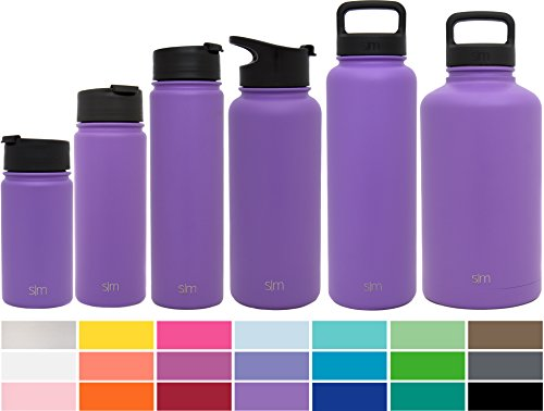 Simple Modern 14 oz Summit Water Bottle - Stainless Steel Hydro Kids Flask +2 Lids - Wide Mouth Double Wall Vacuum Insulated Reusable Lilac Small Metal Coffee Spill Proof Thermos (Purple Metal)