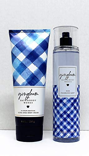 Bath and Body Works Gingham 8 Ounce Ultra Shea Body and 8 Ounce Fine Fragrance Mist Duo Bundle