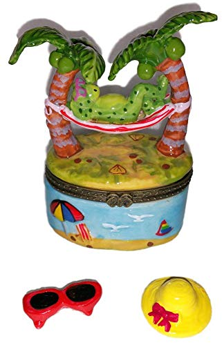 (Direct Connection Co. Funny Green Frog Relaxing in Palm Tree Hammock 3pc Porcelain Hinged Trinket Box)
