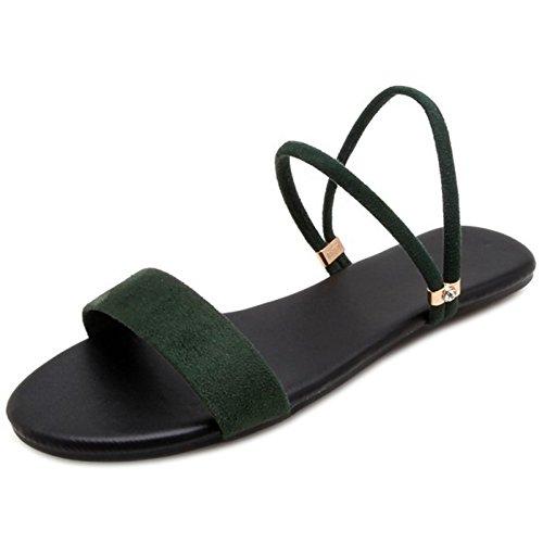 Sandales Plates TAOFFEN Femmes Green Simple afqHqB