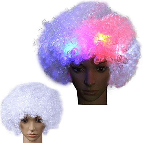LED Flash Wigs,Independence Day Dress Up Wig,Clown Wig, Funny Wig,Party Disco Funny Afro Clown Hair Wig -