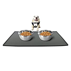 Leeko Silicone Waterproof Dog Cat Pet Food Mats Tray, FDA Grade Silicone Waterproof Pet Food Mat, No Mess Pet Food Mat Dog Bowl Placemat