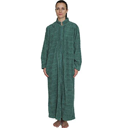 NDK New York Women's Zipper Front Chenille Bathrobe 100% cotton Length 52 inches