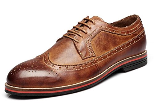HAPPYSHOP(TM) Mens Leather Lace Up Formal Classic Dress Oxford Wings Brogue Pointed Shoes Brown x1VtJ