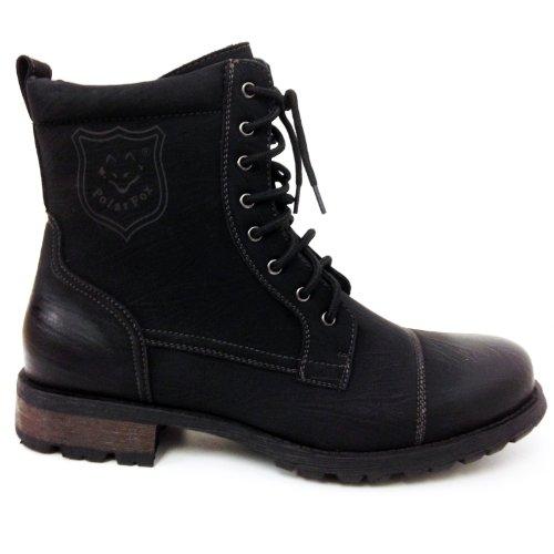 Polar Fox Hombres Botines De Cuero Estilo Militar Desgaste De Combate Con Cordones Trabajar Desierto Zapatos Negro