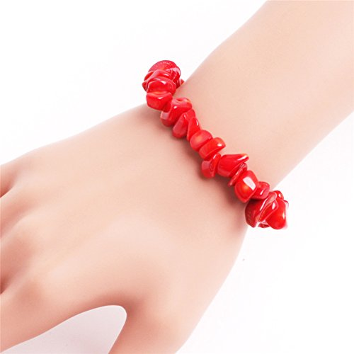 Bracelet Chip Red Coral (GEM-inside Red Coral Hand Bracelets Elastic Rope Fashion Jewellry Agate Beads Chips Men Women 7 Inches)