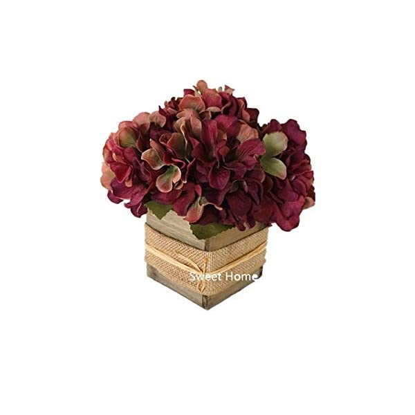"Sweet Home Deco 8"" Silk HydrangeaFlower Arrangement w/Wood Vase Wedding Home Decorations for Fall/Winter (Burgundy)"