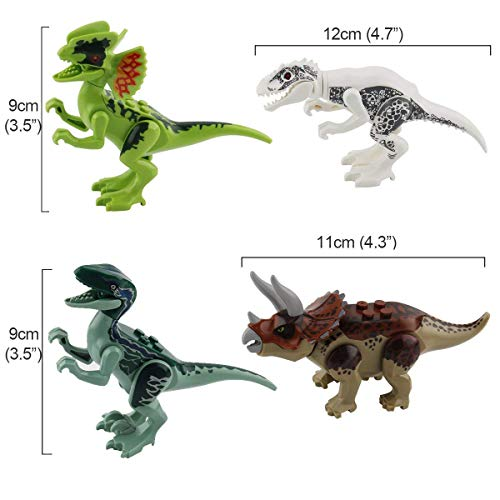 jiistar 16pcs Dinosaur Building Blocks Toys - 16pcs Dinos Toy,Buildable Dinosaur Building Blocks Figures with Movable Jaws,Including T Rex,Triceratops, Velociraptor, Best Gift for Kids Boys and Girls