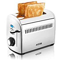 Toaster Aicok 2-Slice Toaster with 4cm Extra Wide Slots Stainless Steel, Heat dissipation design, 7 Setting Shade Selectors, 850W