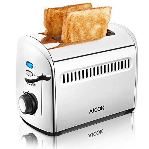 Toaster, Aicok 2 Slice Stainless Steel Toaster ...