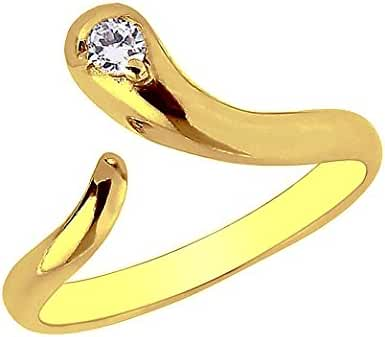 10k Yellow Gold Snake Cubic Zirconia Adjustable Body Art Toe Ring