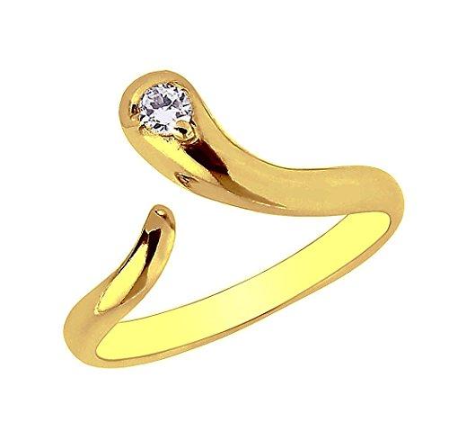 Ritastephens 10k Yellow Gold Snake Cubic Zirconia Adjustable Ring or Toe Ring