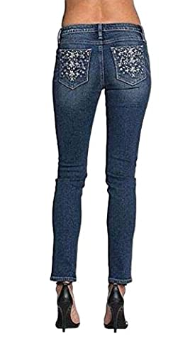Miss Me Jeans Women's Mid-Rise Skinny Medium Wash Snowflake Sequin Pocket (28) - Sequin Pocket Jean