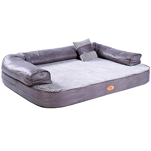 PLS Birdsong Lounger Sofa, Firm Orthopedic Dog Bed, Foam Dog Bed, Dog Beds with Removable and Washable Cover