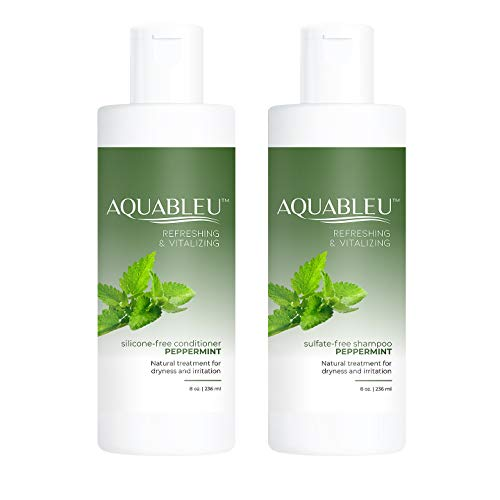 Aquableu Natural Peppermint Shampoo & Conditioner Set - For Oily Hair - Deep Cleansing & Oil Balancing - Anti-Bacterial & Anti- Dandruff - Jojoba Oil - Sulfate & Paraben Free - For Men & Women (8 oz)