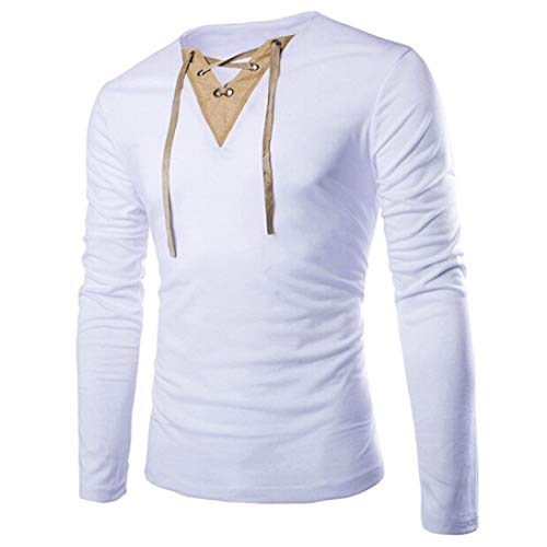 Mens Casual Long Sleeve T Shirt Clearance - vermers Fashion Men's Solid Splice Cross Bandage Tops Blouse(XL, White)