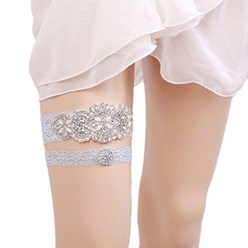 WoodBury Wedding Garter Belt Set Throw Away and Keep One with Rhinestones Pearls Ligth ()