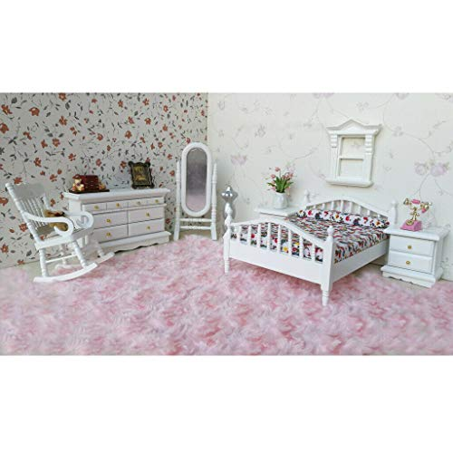 NATFUR 1:12 Scale Dollhouse Bedroom Furniture White Wooden Bed Dresser Mirror Chair