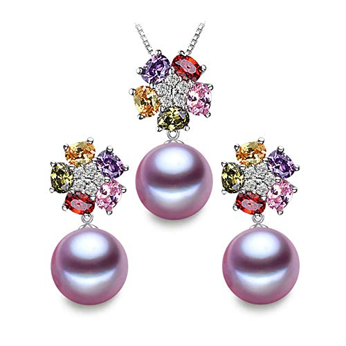 (LSOOYH 18K Gold Plated Fashion Austrian Crystal Flower Necklace Earrings for Women Purple Pearl Jewelry Sets (Purple))