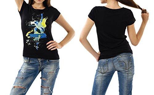 Skateboarding schwarzes modernes Damen / Frauen T-Shirt mit stylischen Aufdruck