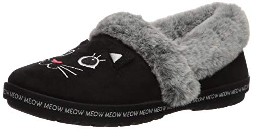 Skechers BOBS Women's Too Cozy-Meow Pajamas Slipper, Black, 7 M US