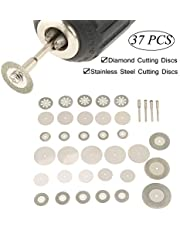 37 Piezas Conjunto de Discos de Corte Sierra,Hoja de Sierra Circular de Diamante HSS con Mandriles en Diferentes Diámetros Herramientas Rotativas para Madera,Metal,Piedra,Plástico