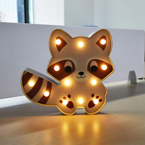 LED Nightlight,Raccoon Shaped Night Light Sign Desk Lamp Wall Decor Marquee for Home Decor Children Baby Bedroom Color Night Lamp,Best Gift for Kids- Raccoon by Worpee