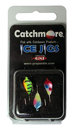 Catchmore Darby Style Ice Jigs, Two Packs (3 per pk) #8 Hook, Fire Tiger, Mother of Pearl, Red-Head Wonderbread - Ice Darby